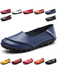 eae3b002b221 Hishoes Women s Soft Leather Mocassins Casual Slip On Loafers Flat Boat  Shoes Driving Shoes