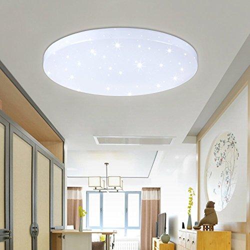 VINGO 50W LED Wand-Deckenleuchte Weiß rund Deckenlampe Starlight Effekt Modern Schlafzimmer...