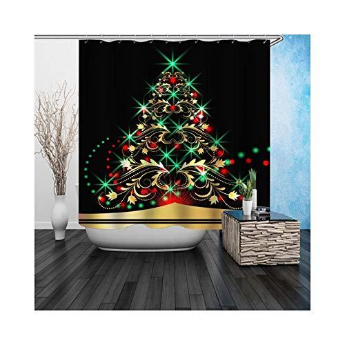 Adisaer Cortina de Ducha Textiles para el hogar Decoración Negro Brillante Árbol de Navidad 90X180 Impermeable con Ganchos Blancos