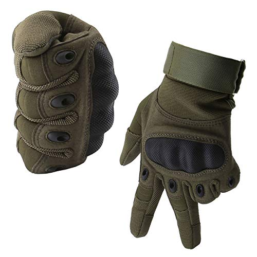 Graceme Handschuhe Motorradhandschuhe für MTB Mountainbike Motorrad Motocross Quad Paintball Airsoft Security Tactical Militär KTM Fahrrad Rad Herren Damen Touchscreen (Voller Finger Army grün, XXL)