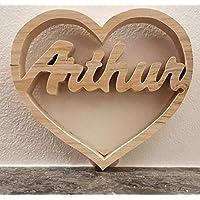 Coeur à prénom chantourné en bois personnalisable - 15 cm - fait à la main en bois massif - cadeau unique