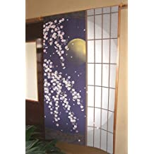 """Noren (cortina japonesa) """"Cherry Blossoms y (papel Shoji Puerta) por la noche"""" 14–267de Japón"""