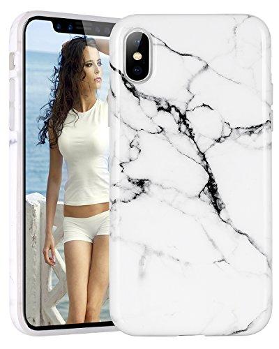 Custodia iPhone X,iPhone X Case,Casetego White Black Marble Design Slim Shockproof Flexible Glossy TPU Soft Case Rubber Silicone Skin Cover for Apple iPhone X/iPhone 10-White/Black White/Black