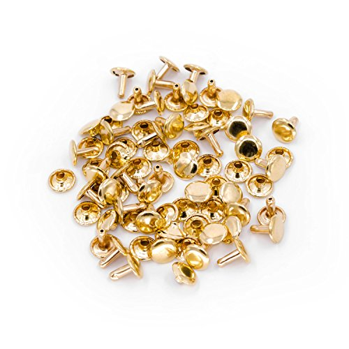 Herren Schwarz Leder Hand Nähen (Trimming Shop Doppel Cap Nieten, Tubular Metallbolzen für Kleidung Reparatur und Austausch, Nähen, Leder Crafting, Verschönern, 8mm x 7mm, Gold, 100 Sets)