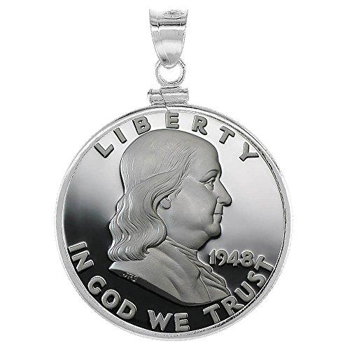 Revoni Ehering, Aus Sterling-Silber 925, 30 mm, Half Dollar 50 Cent (Schraubverschluss), Münzfassung/Anhänger Münze Ist Nicht Im Lieferumfang Enthalten) (Dollar-münze Lünette)