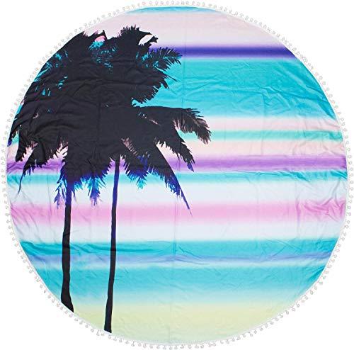 styleBREAKER Toalla para la Playa Redonda con Motivo de Palmeras y Puesta de Sol y pompón, Toalla de Mano, Toalla de baño, Unisex 05050076, Color:Turquesa-Rosado-Amarillo
