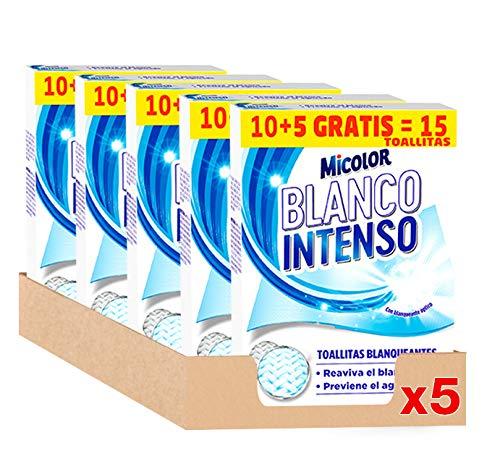Micolor Toallitas Blanco Intenso 10+5D - Pack de 5, Total: 65 Toallitas