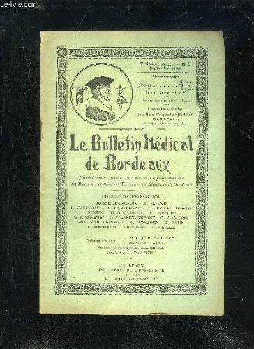 LE BULLETIN MEDICAL DE BORDEAUX - 3EME ANNEE - N° 9 - Les « douleurs » du membre supérieur (Dr Molin de Teyssieu). I.a Revue de l'Externat : L'A. E... nec plus ultra.Chfz. nous (M. G.).Analyse de thèses.Bibliographie : La Cystographie (M. G.).