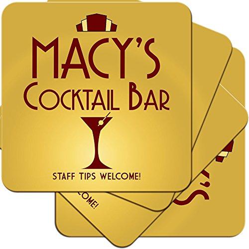 MACY 'S Cocktail Bar-Art-Deco-Stil personalisierbar aus Hartfaserplatte Untersetzer Geschenk-Set (4Pack)
