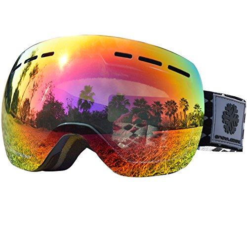 Skibrille Mädchen- Frameless, Austauschbare Double Sphärische Linse mit Anti-Kratzer und Anti-Nebel, Ski/Snowboard Goggles für kinder-100% UV-Schutz