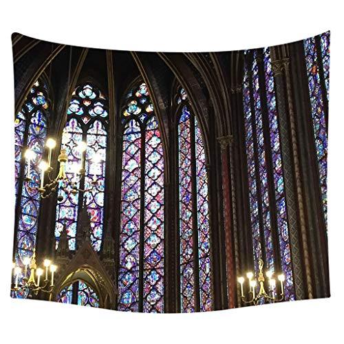 Notre Dame de Paris Landschaft Wandbehang Tapisserie Strandtücher Yogamatte Picknickdecke Vorleger Wandteppich Polyester Wanddeko Kunstteppich (L)