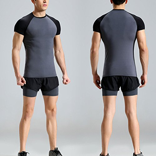 Zhhlaixing Mens Casual Fitness Clothing Two pieces Short Sleeves Sportswear Set Gray