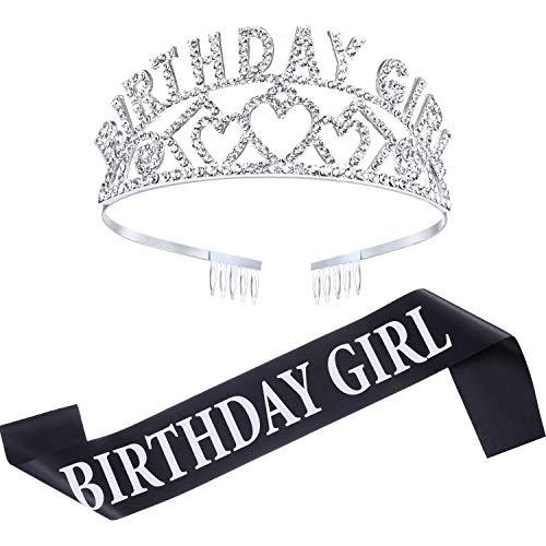 Chengu Geburtstag Mädchen Glitter Krone Strass Kristall Dekor Stirnband mit Geburtstag Mädchen Schärpe (Silber)