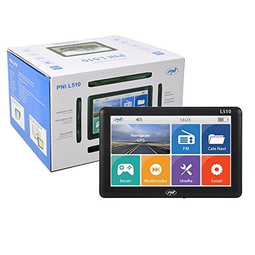 Sistema di navigazione GPS Schermo PNI L510 da 5 pollici, 800 MHz, DDR2 da 256 MB, memoria interna da 8 GB, trasmettitore FM