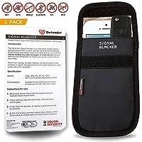 Defender Signal Blocking Pouch RFID - Phone Case Signal Blocking Device - Car Key Signal Blocker Pouch Security Case - Signal Blocking Wallet For Car Keys Mobile Phone Cards - 2 x Black