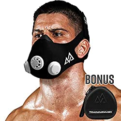 Training Mask 2.0 [Original Black] Elevation, Fitness Mask, Workout Mask, Running Mask, Respiratory Mask, Resistance Mask, Enhancement Mask, Cardio Mask, Fitness Endurance Mask, Black + Case, Large