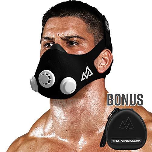 Máscara de entrenamiento 2.0 [original negro mediano + funda] máscara de simulación de fitness, máscara de entrenamiento, máscara de correr, máscara de respiración, máscara de resistencia