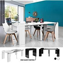Mesa consola Prepare un salón Spread 199 cm, cerrado Medidas mesa: CM 90x44.5x75 Acabado en blanco brillante, multifuncional cocina (blanco brillante)