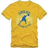 Stephen Curry Spice #1 T-Shirt NBA Herren GSW Basketball, Farbe:Gelb (Gold L190);Größe:S