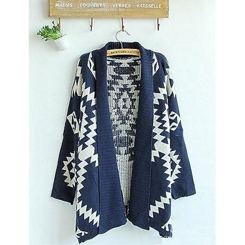 ZY/Pattern Geometrico Da donna Nuovo Cardigan Maglione Lana Maglione Cardigan Outwear, blue-one-size