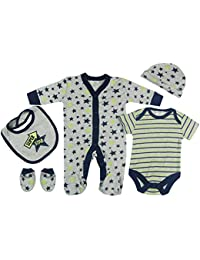 Zivaro Baby-Boys Grey Navy Super Star Presents Gifts For Newborn Baby Boys  Toddler Unisex Cute Clothing Sets Sleepsuit Vest Bib Hat Outfits… 97374af28b3a