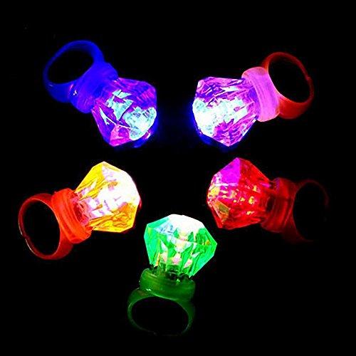 (Lecimo 10 Stücke Mischfarben LED Leuchten Blinkende Fingerringe Audlt Kinder Für Party Night)