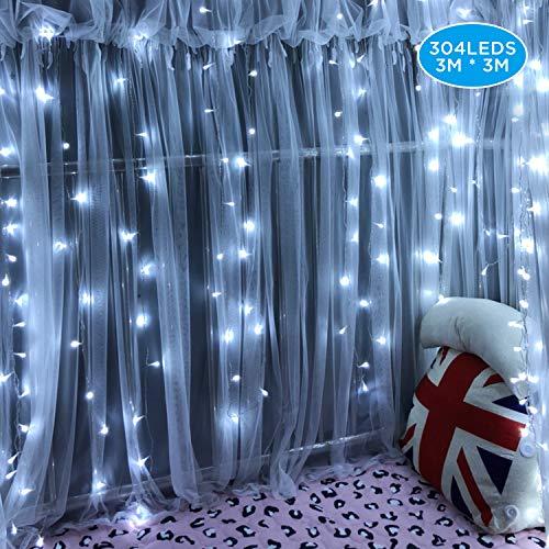 IPOW Cortina de luz 304 LEDs con enchufe, luz led guirnalda decorativa exterior/interior para casa, fiestas, bodas, jardines, árboles, patios, Navidad, al aire libre (Blanco Frío)