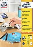 Avery Zweckform AB1800 CD-Beschriftungs-Set (A4, 24 Etiketten, 10 Einleger, 1x Zentrierhilfe, 117 x 117 mm) weiß