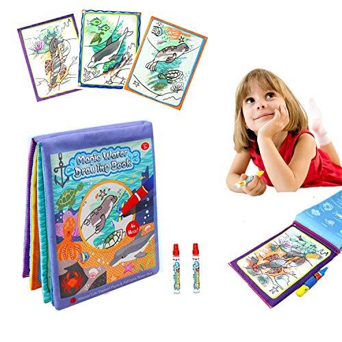 DQTYE Wasser Magie Doodle Bücher Baby Aqua Zeichnung Stoff Tuch Buch Wiederverwendbare Malerei Spiel Chaos Freies Lernen Malen Kritzeln Bord Pädagogisches Spielzeug mit 2 Magic Pen für Kinder -