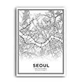 XWArtpic Koreanische Karte Sareureuk Definition Skandinavischen Wandkunst Leinwand Malerei Poster und Drucke POP Bilder für Wohnzimmer Decor A 60 * 100 cm