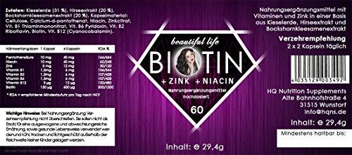 BIOTIN – Die Lösung gegen Haarausfall | Starke Formel | Hochdosiert | Haar-Vitamine | Biotin, Zink, Selen, Hirse & Mehr (60 Kapseln)