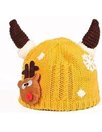 Hosaire 1x Invierno Niño Niña Sombreros Navidad Forma de Cuerno Dibujos  Animados Felpa Interior Hecho Punto Lindo del bebé Gorra de bebé… ff29a3d4aa7