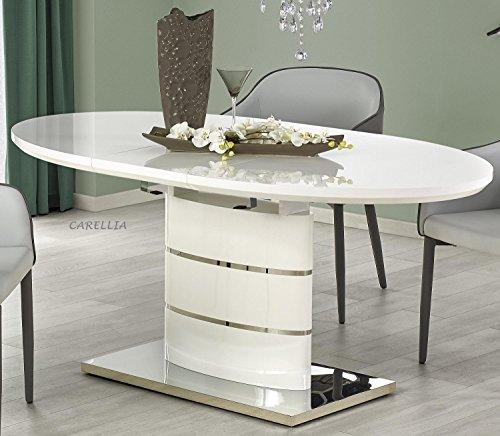 Table A Manger Ovale Extensible – L : 140 ÷ 180 CM x P : 90 CM x H : 76 CM – Blanc