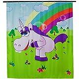 """Cortina de ducha con motivos cómicos - Diseño colorido """"Drunky Unicorn"""" 200 x 180 cm - Cortina de ducha como una idea de regalo - Grinscard"""