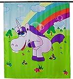 Duschvorhang mit Comic Motiv - Bunt 'Drunky Unicorn' Design 200 x 180 cm - Dusch-Vorhang als Geschenkidee - Grinscard