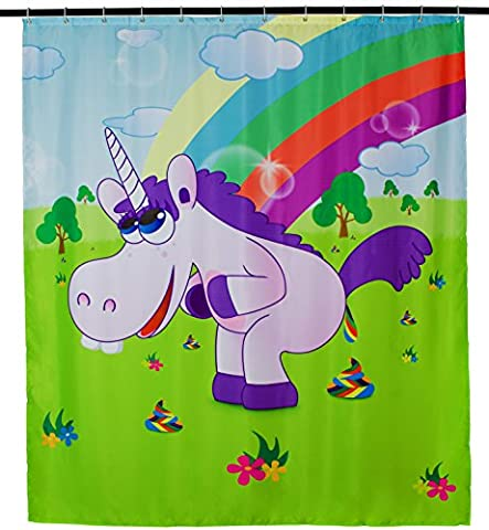 Design Anti Mildew Shower Curtain/Drunky Unicorn Print/Approx. 200 x 180 cm Including 12 Curtain