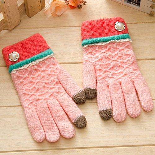 Frauen Strickhandschuhe - Herbst Und Winter Warm Fingersatz Finger Touchscreen Radfahren,Pink (Mädchen Fingersatz)