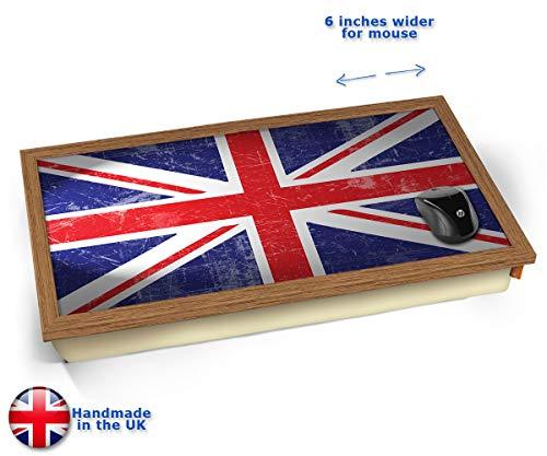 Union Jack Flag UK United Kingdom Cushioned Bean Bag Laptop Lap Tray Desk - Built-in EMF Shield (Electro Magnetic Field) Kissen Tablett Knietablett Kissentablett - Holz Effekt Rahmen (Brown Frühstück Kissen)