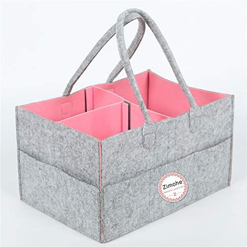 Pañales Organizador, Cambiar Pañales Bolsa de Almacenamiento Plegable Fieltro Pañales Caddy de Almacenamiento Bin para Hogar Coche Viaje, con Multi Bolsillos y Compartimentos Intercambiables (Rosa)