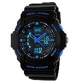 OUMOSI militare uomini orologi sportivi LED analogico e digitale Multifunzione da Polso. Blue