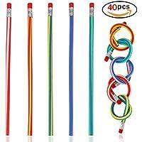 Un Paquete de 40 Lápices Flexibles con borrador para niños-Lápices Flexibles Mágicos Correosos y Coloridos