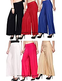 Klugger® Palazzo Pant for Women Lycra Palazzo_Flared Trouser for Women's/Girls (Pack of 6) Free Size