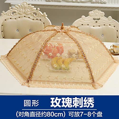 BBDQX Folding dish cover, table cover, dish cover, food cover, vegetable bowl cover, anti flies lace round large square,Round Rose Embroidery -