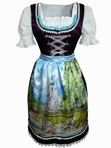 Di02 Exclusives, Midi Dirndl, 3 teilig, Lila Trachtenkleid mit Bluse und wunderschöner Schürze mit Landschaftsmotiven, Rocklänge 58-59 cm, Gr. 38