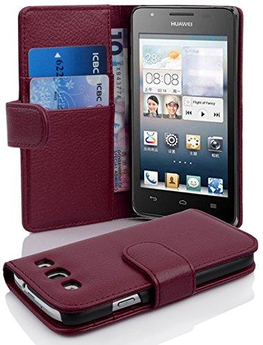 Cadorabo Hülle für Huawei Ascend G525/ G520 Hülle in Handyhülle mit Kartenfach aus Struktriertem Kunstleder Case Cover Schutzhülle Etui Tasche Book Klapp Style Bordeaux Lila