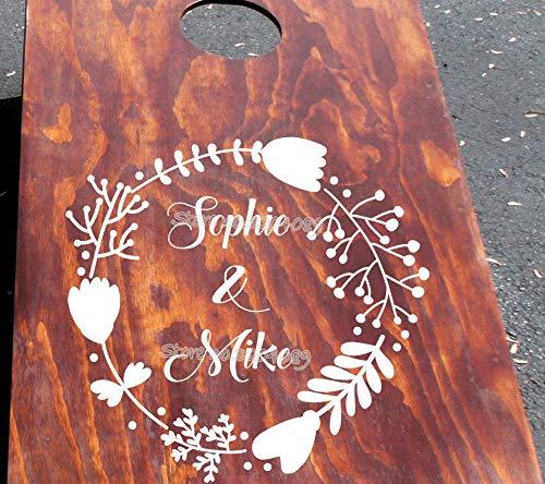 erte Hochzeit Monogramm Rebe Aufkleber für Mais Loch Board Aufkleber Hochzeit Benutzerdefinierten Namen Aufkleber in Kranz Tür Kunst Aufkleber42 * 42cm ()