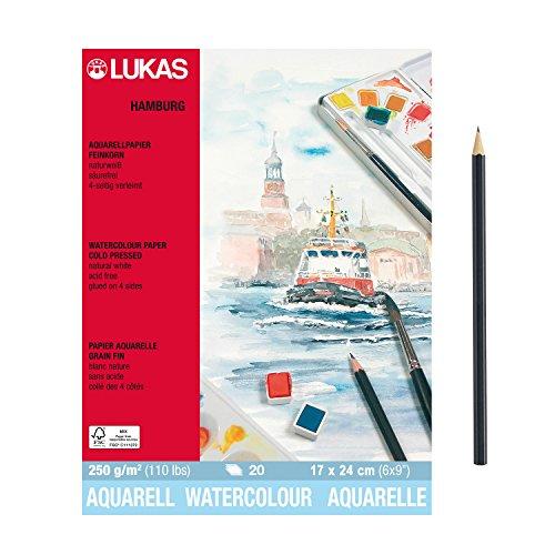 "Hochwertiges ""LUKAS Aquarellpapier HAMBURG"" 20 Blatt Block - 17 x 24 cm - Naturweiß - Artikelnr. 56010002 + Profi Skizzenstift"