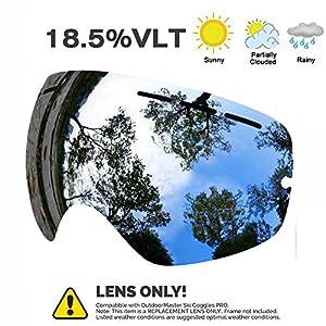 Juli, Skibrille, Beschlagschutz, UV-Schutz, austauschbare sphärische Dualgläser, für Männer, Frauen und Jugendliche, Spiegel(VLT 18.5%)(nur Objektiv)
