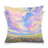 Free-shipping Colorful Flowers and Clouds Landscape Painting Square Throw Pillow Case Cotton Velvet Cushion Cover 18