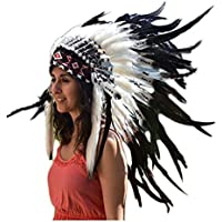 X12 Sombrero Indio, penacho, de tres colores blanco y negro ydoble pluma (30 pulgadas/75 cm)